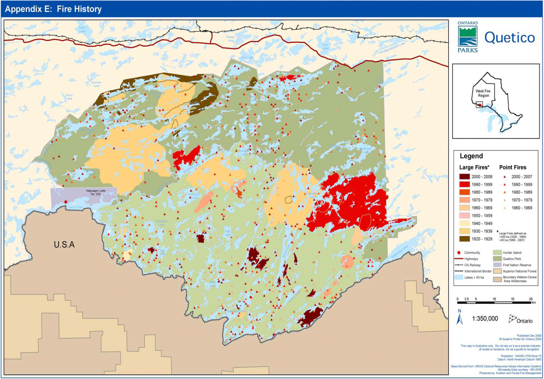 Quetico Fire History Map on